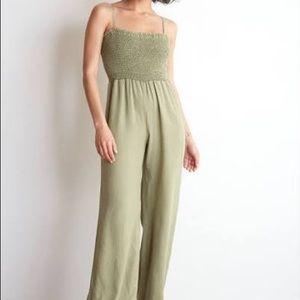 Bella Dahl Olive Green Smocked Wide Leg Jumpsuit